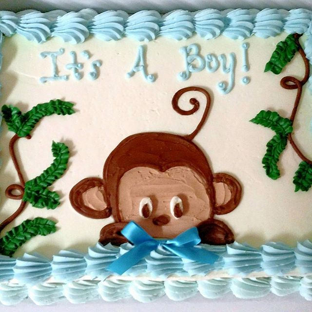 #sweetchefpastry #yellowcake #vanillabuttercream #babyshower  #itsaboy #monkey #baby #boy