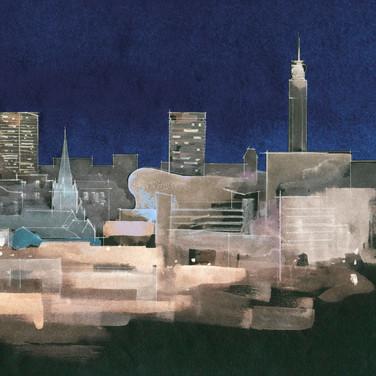 Birmingham Night Skyline