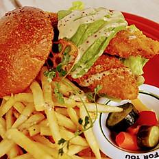 fish & avocado burger