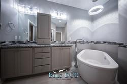 spacious bathroom shower and tub