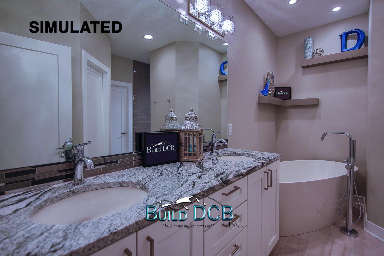 dual marble sinks in master bathroom