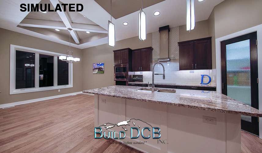 open dining room and large kitchen
