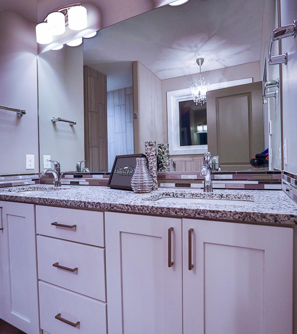 tall master bathroom celings custom cabinet