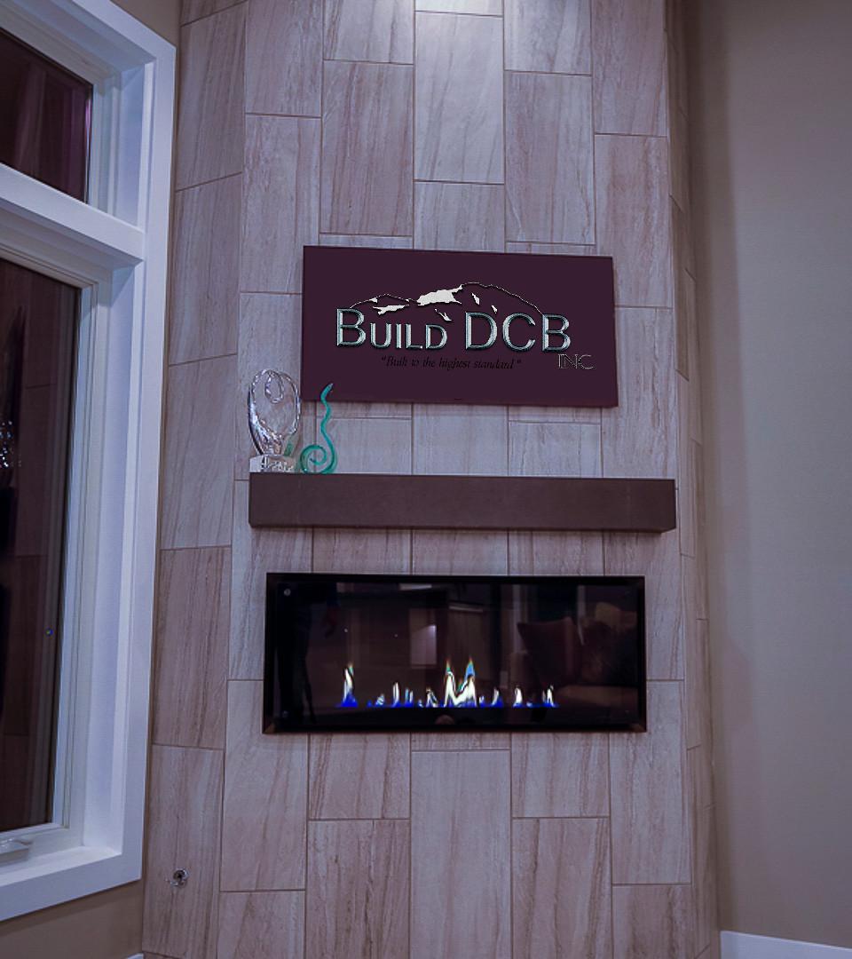 large electric granite fireplace