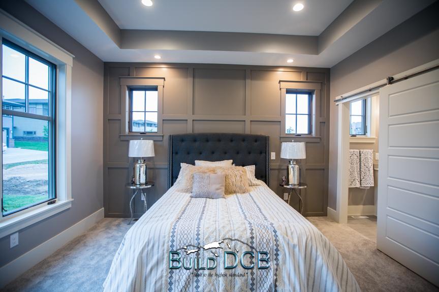 modern semetrical master bedroom