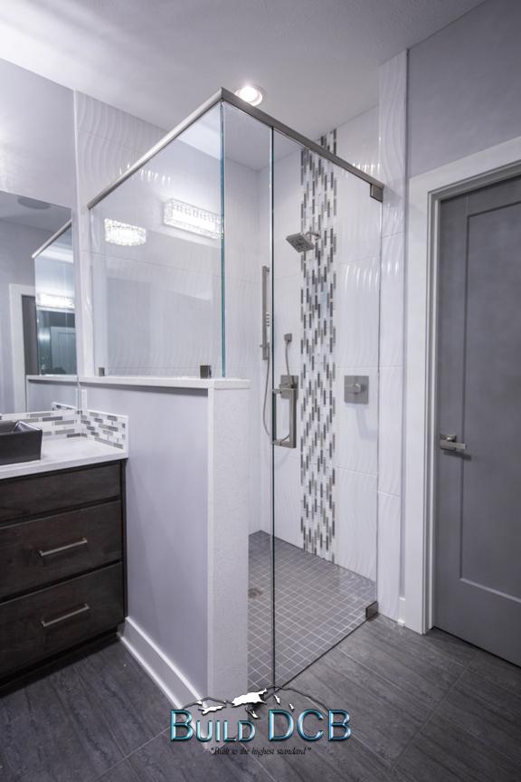 glass door modern shower