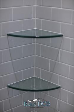 shower glass corner shelving