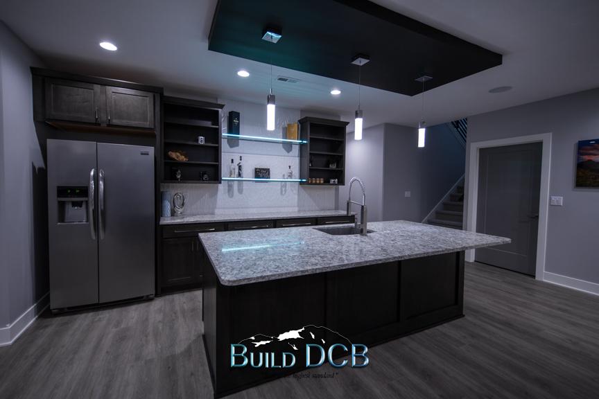 stainless fridge kitchen island