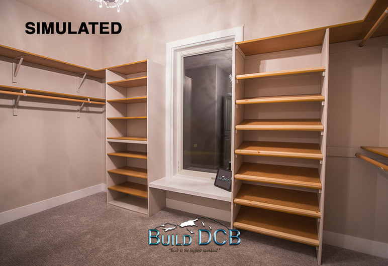 large master closet shelving