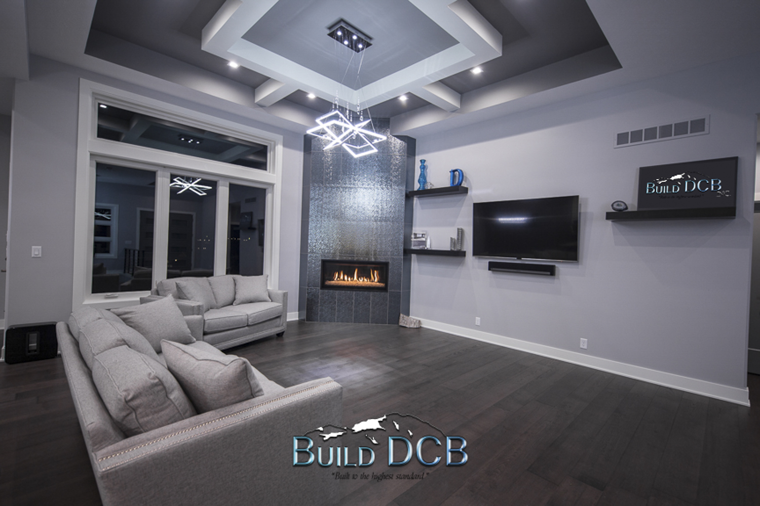 open living room design fire place