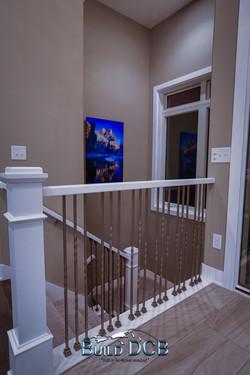 basement stairwell wood railings