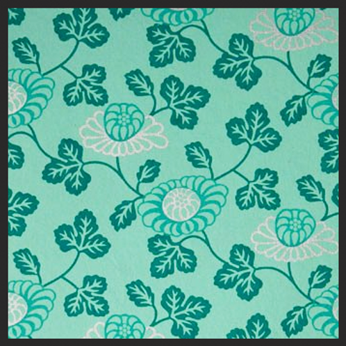 Printed Turquoise Floral Vine