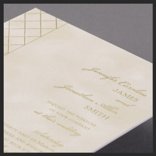 Ivory Suede Wedding invitation