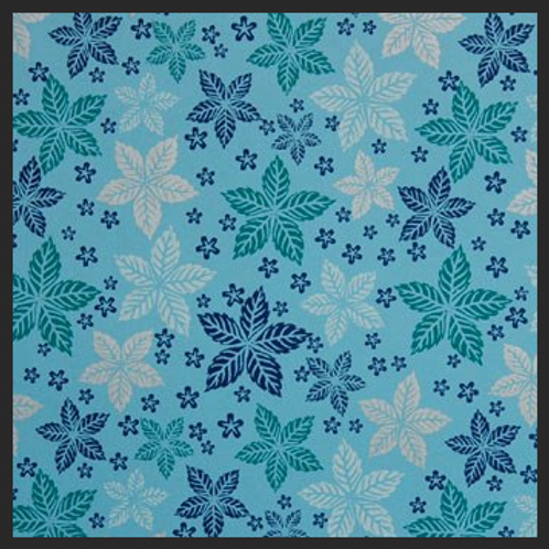 Printed Blue and Turquoise Leaf Floral