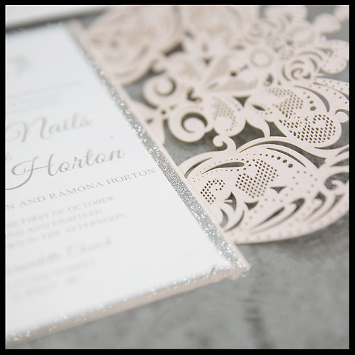 Ivory Lace Laser Cut Invitation