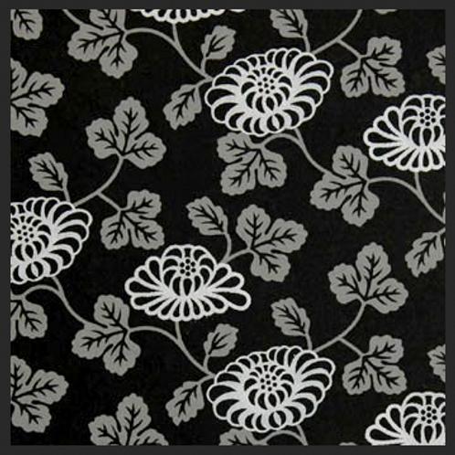 Printed Black Floral Vine