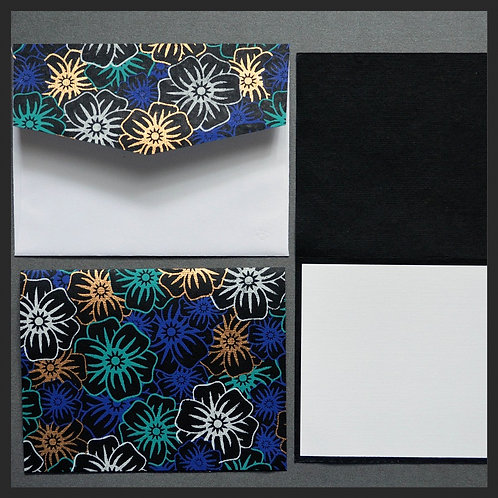 Black/Blue Poppies Note Cards