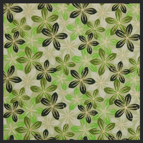 Printed Green and White Flowers