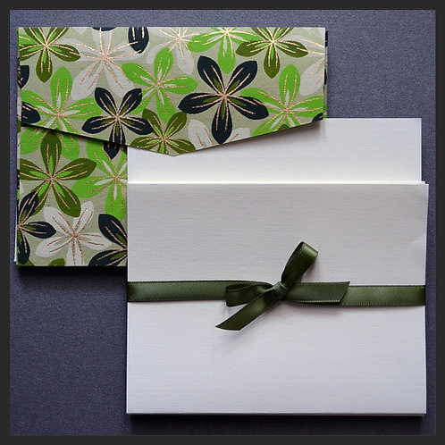 Green/Ivory Flowers Envelope Love Notes