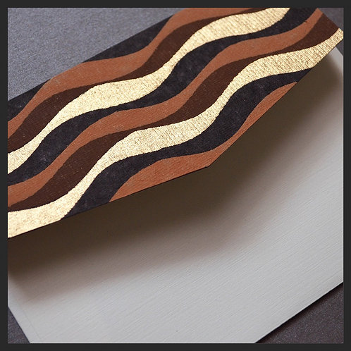 Brown/Gold Waves Accented Envelopes (8 per pkg)