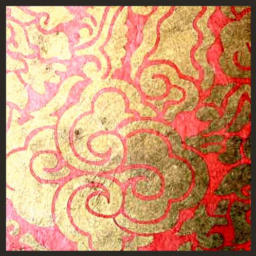 Salmon Pink and Gold Tingba Print