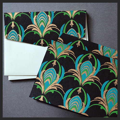 Turquoise/Gold Designer Note Cards
