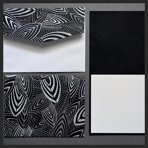 Black and White Leaf Note Cards