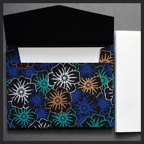 Black/Blue Poppies Envelope Love Notes (8 p