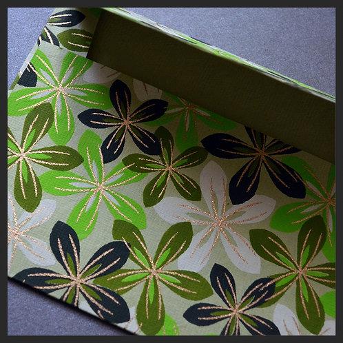 Green/Ivory Flowers Envelopes (8 per pkg)