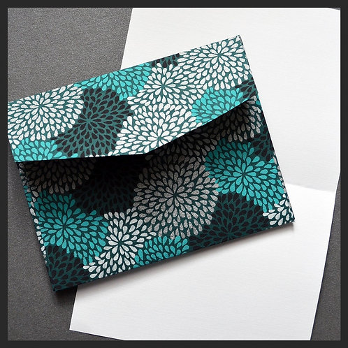 Turquoise Hydrangea Envelope Love Notes (8 p