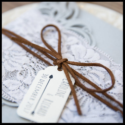 Laser Cut Pocket invitation with Lace