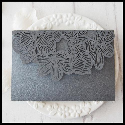 Charcoal Lily Laser Cut Pocket