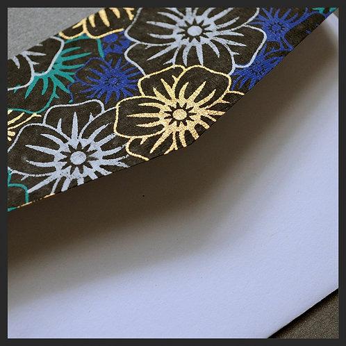 Black/Blue Poppies Accented Envelopes (8 per pkg)