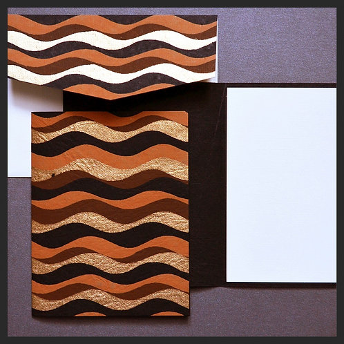 Brown/Gold Waves Note Cards