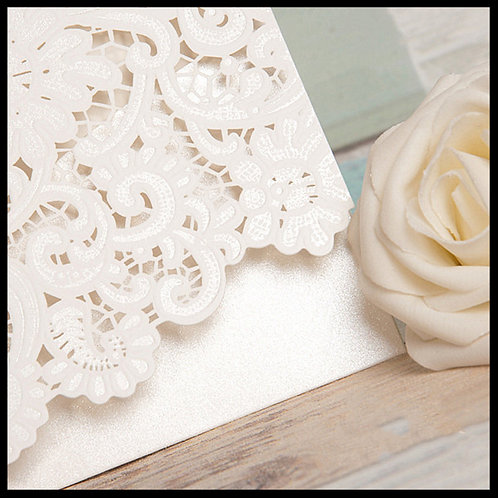 White Laser Cut Envelope Invitation