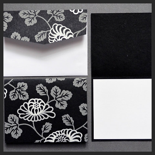 Black Floral Vine Note Cards