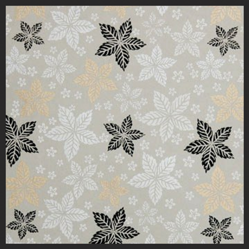 Printed White and Gold Leaf Floral