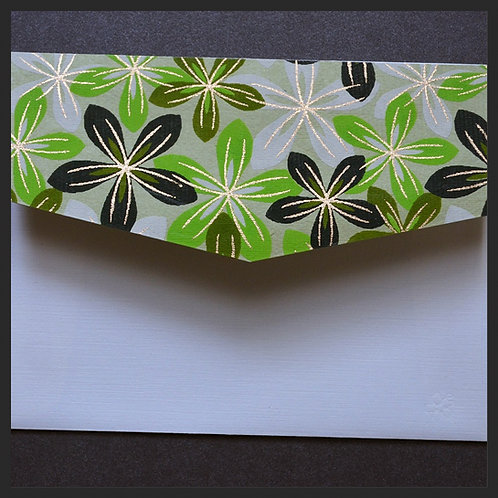 Green/Ivory Flowers Accented Envelopes