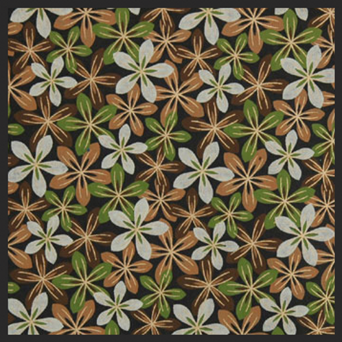 Printed Brown and Green Flowers