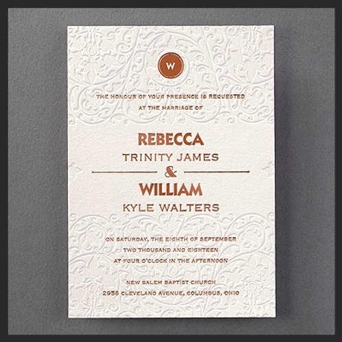Foil and embossed Wedding Invitation