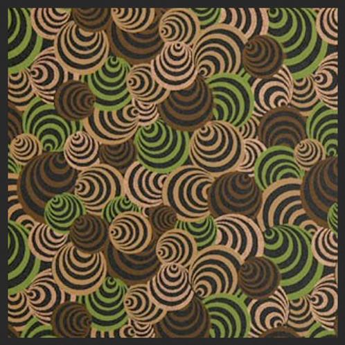 Printed Brown and Green Circles