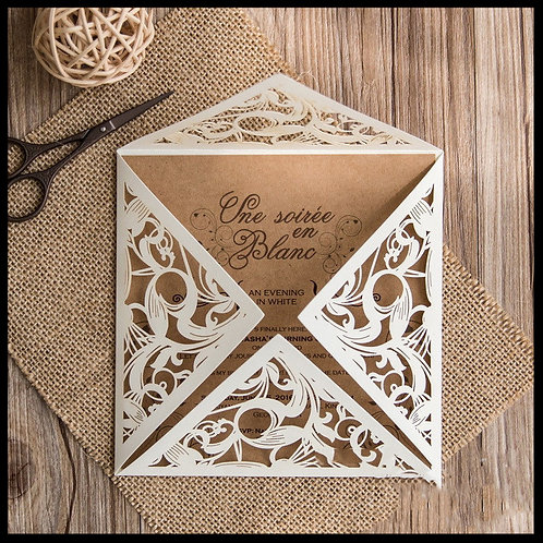 Delicate Ivory Laser Cut four fold