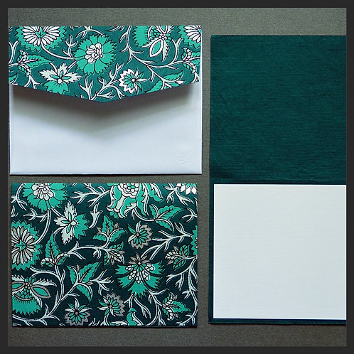 Turquoise/Silver Decor Note Cards