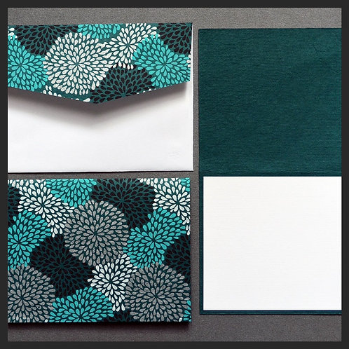 Turquoise Hydrangea Note Cards