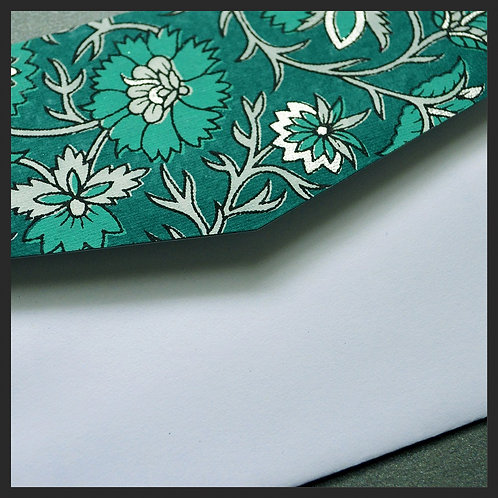 Turquoise/Silver Decor Accented Envelopes (8 p