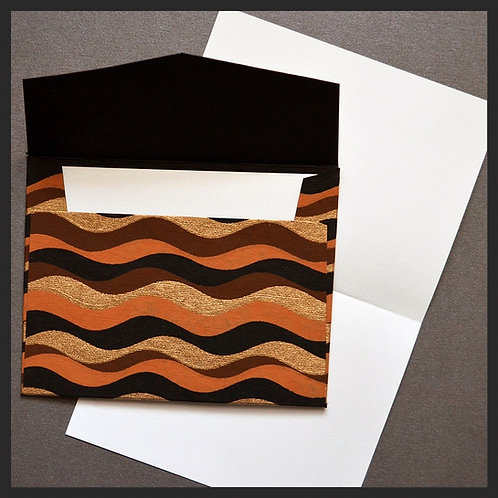 Brown/Gold Waves Envelope Love Notes (8 per pkg)