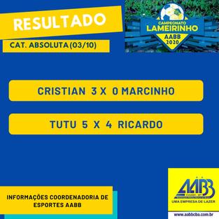 Campeonato Lameirinho - Resultados