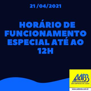 Funcionamento com Horário Especial 21/04
