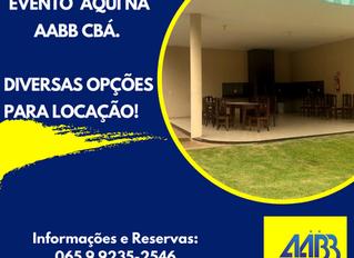 ESPAÇO PARA EVENTOS DA AABB CBÁ ESTÃO LIBERADOS PARA LOCAÇÃO