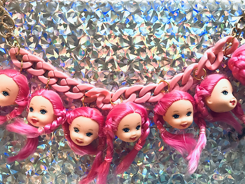 PINK DOLL HEAD NECKLACE